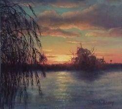 Sundown at Lake Mulwala, Yarrawonga (11 x 12 cm)