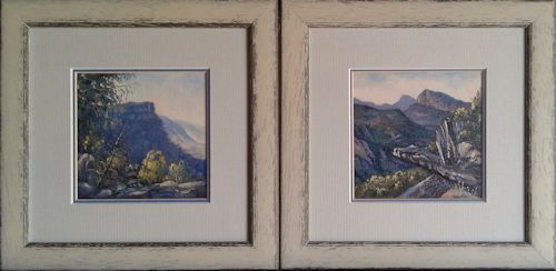 Pinnacle (left), The Balcony (right) from the Grampians, Victoria (10 x 10 cm)
