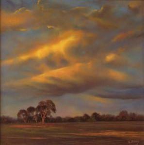 Sundown over President's Park, Werribee, Victoria (40 x 40cm)