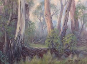 Through the Mist, Woori Yallock Creek (16 x 11 cm)